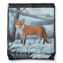 Red Fox Drawstring Backpack