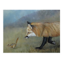 Red Fox Encounter Art Postcard