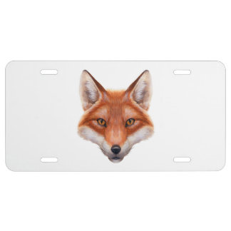 Red Fox Face License Plate