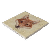 Red Fox Face Stone Trivets