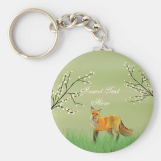 Red Fox Forest Trees Green Keychain