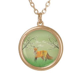 Red Fox Forest Trees Green Round Pendant Necklace