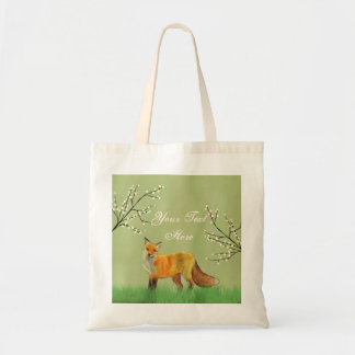 Red Fox Forest Trees Green Tote Bag