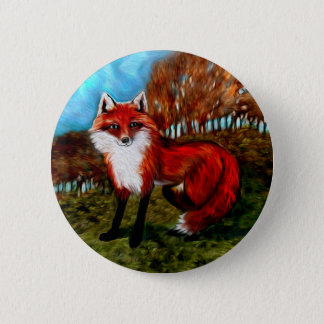 Red Fox Foxes Wildlife Animals Button