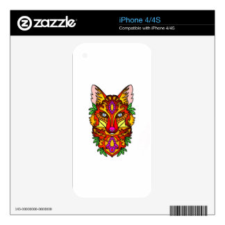 Red Fox Head  Stylized Drawing Skin For iPhone 4