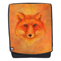 Red Fox Head Watercolor Illustration Backpack