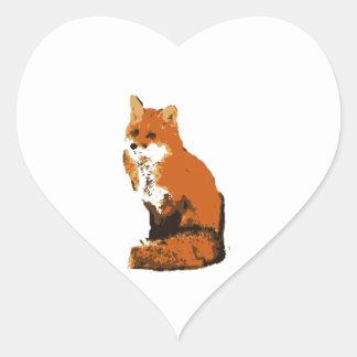 Red Fox Heart Sticker
