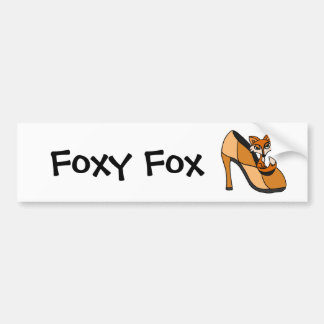 Red Fox in High Heel Shoe Art Car Bumper Sticker