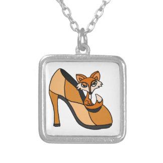 Red Fox in High Heel Shoe Art Necklaces