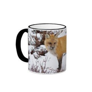 Red Fox in snow in winter Ringer Coffee Mug