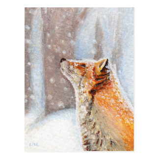 Red Fox in the Snow Painting Postcard