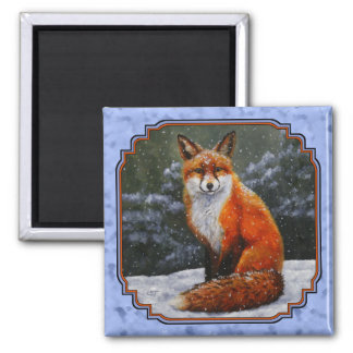 Red Fox in Winter Snow Blue 2 Inch Square Magnet