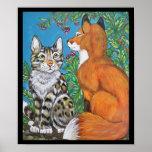 Red Fox Kit and Cat Poster, Original Animal Art Poster