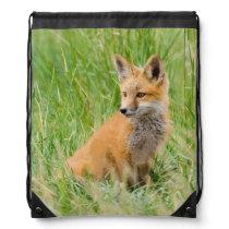 Red Fox Kit in grass near den Drawstring Bag