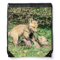 Red Fox Kits Playing Drawstring Backpack