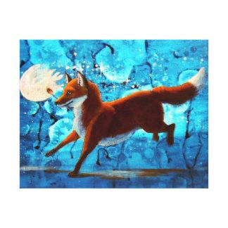 Red Fox Kitsune Surreal Fantasy on Blue Canvas Print