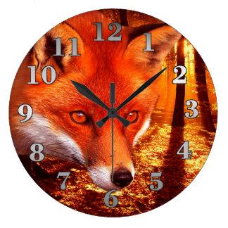 Red Fox Large Clock