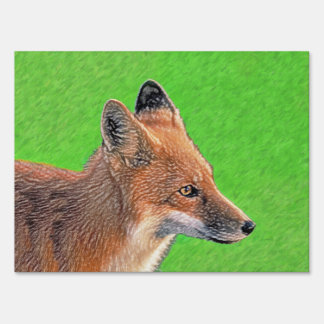 Red Fox Lawn Sign