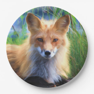 Red Fox Laying in the Grass Scenic Wildlife Paper Plate