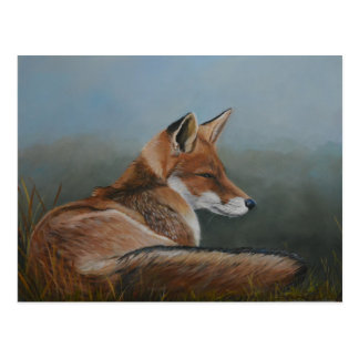 Red Fox Laying Low Animal Art Postcard