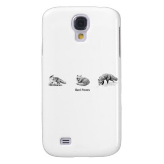 Red Fox Line Art (titled) Samsung Galaxy S4 Cases