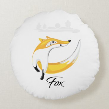 Professional Business Red Fox, Looking away on Nature Background. Round Pillow
