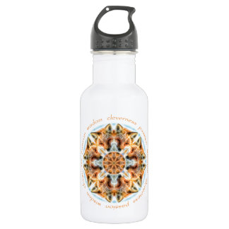 Red Fox Mandala - Passion, Wisdom, Cleverness Stainless Steel Water Bottle