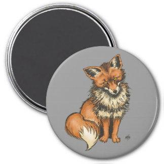 Red fox on grey background 3 inch round magnet