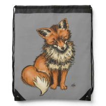 Red Fox on Grey background Drawstring Bag