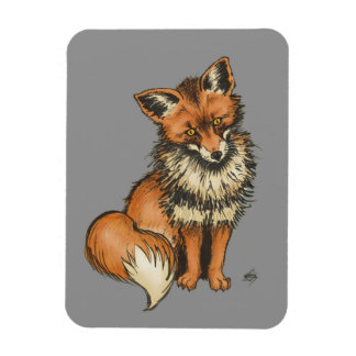 Red Fox on Grey background Rectangular Photo Magnet