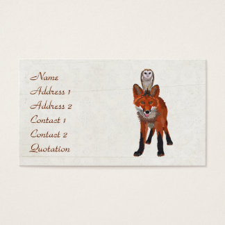 RED FOX & OWL  Business Card