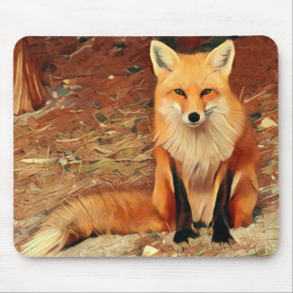 Red Fox Painting Mouse Pad