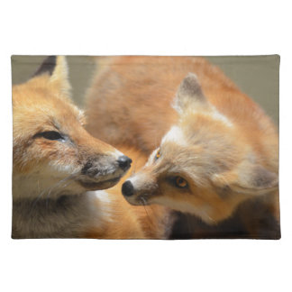 Red Fox Pair Cloth Placemat