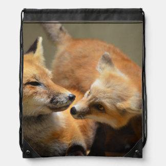 Red Fox Pair Drawstring Backpack