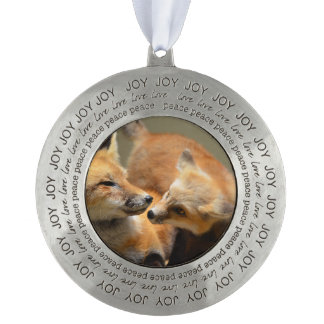 Red Fox Pair Round Pewter Ornament