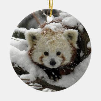 Red Fox Panda Bearcub Ceramic Ornament