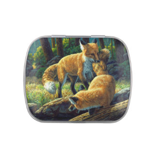 Red Fox Pups Playing Candy Tin