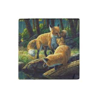 Red Fox Pups Playing Stone Magnet