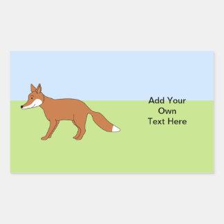 Red Fox. Rectangular Sticker