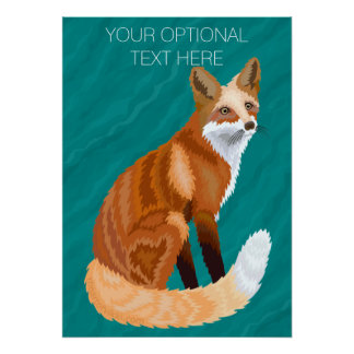 Red Fox Retro Style Poster 28 x 20 Teal Pattern