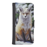 Red Fox sitting on snow bank, Vulpes, Mt. Phone Wallets