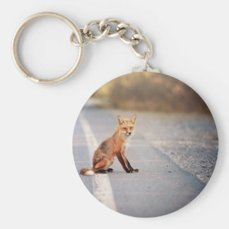 Red Fox Sitting on the side of the road Keychain