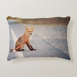 Red Fox Sitting on the side of the road Accent Pillow