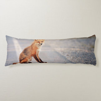 Red Fox Sitting on the side of the road Body Pillow