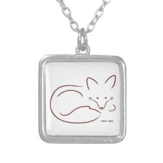 Red Fox Square Pendant Necklace