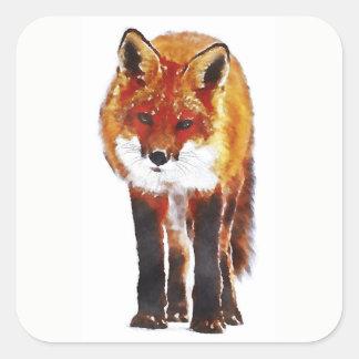 Red Fox Square Sticker