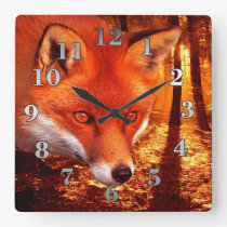 Red Fox Square Wall Clock