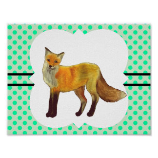 Red Fox Teal Green Polka Dot Poster