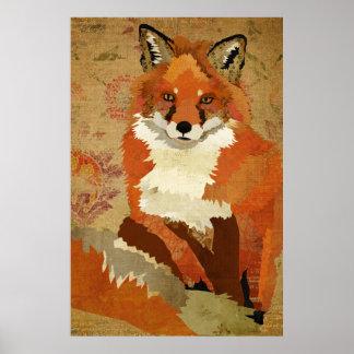 Red Fox Vintage Art Poster