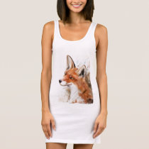 Red Fox Wall Art Sleeveless Dress